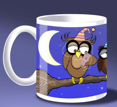 wuthering hoots cartoon owl mug design nezzydesign