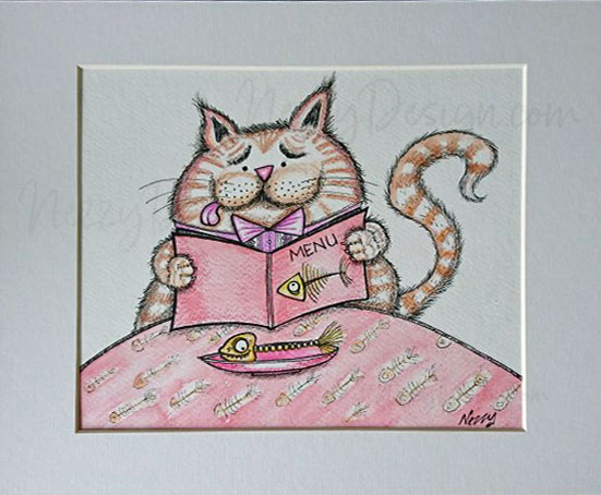 dining cat cartoon in watercolors