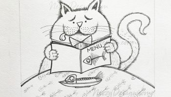 cat cartoons dining cat