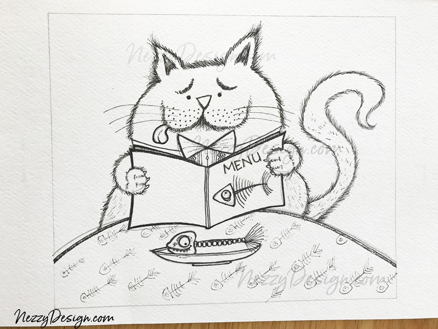 cat cartoons - fussy cat at the diner