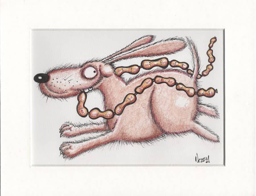 Dog thieving sausages – Signed Pen